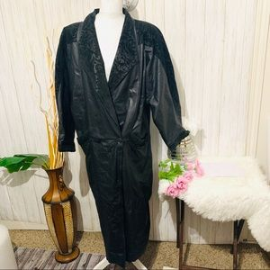 Vintage 80's Winlit Leather Long Coat Size Medium